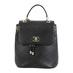 Chanel CC Top Handle Flap Backpack Chevron Calfskin Medium