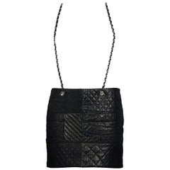 CHANEL CC Turnlock Chain Suspender Leather Quilted Skirt
