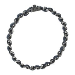 Chanel CC Turnlock Logo Navy Blue Leather Woven Silver Tone Chain Bangle Size 21