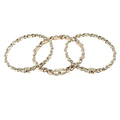 Chanel CC Turnlock Metallic Leather Woven Gold Tone Chain Set of 3 Bracelets