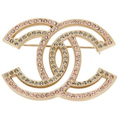 Chanel CC  Two-toned Rhinestone and Gold Toned Brooch