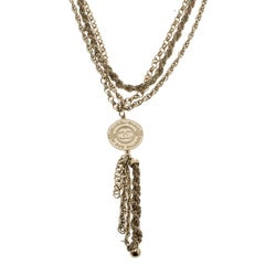 Chanel CC Vintage 31 Rue Cambon Medallion Pendant Gold Tone Layered Necklace