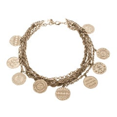 Chanel CC Vintage 31 Rue Cambon Medallions Gold Tone Layered Choker Necklace