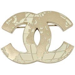 CHANEL CC World Map Golden Brooch
