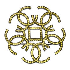 Chanel CC Yellow Crystal Embellished Black Tone Pin Brooch