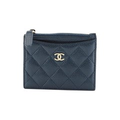 Chanel CC Zip Card Holder Quilted Caviar