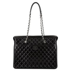 Chanel CC Zip Chain Shopping Tote Quilted Calfskin Large