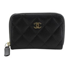 Chanel CC Zip Coin Purse Quilted Caviar Small