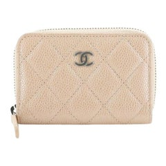 Chanel CC Zip Coin Purse Quilted Iridescent Caviar Small