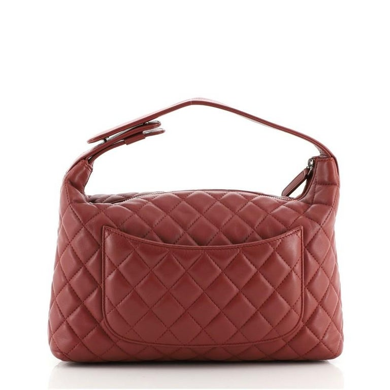 Women's or Men's Chanel CC Zip Hobo Quilted Lambskin Small For Sale