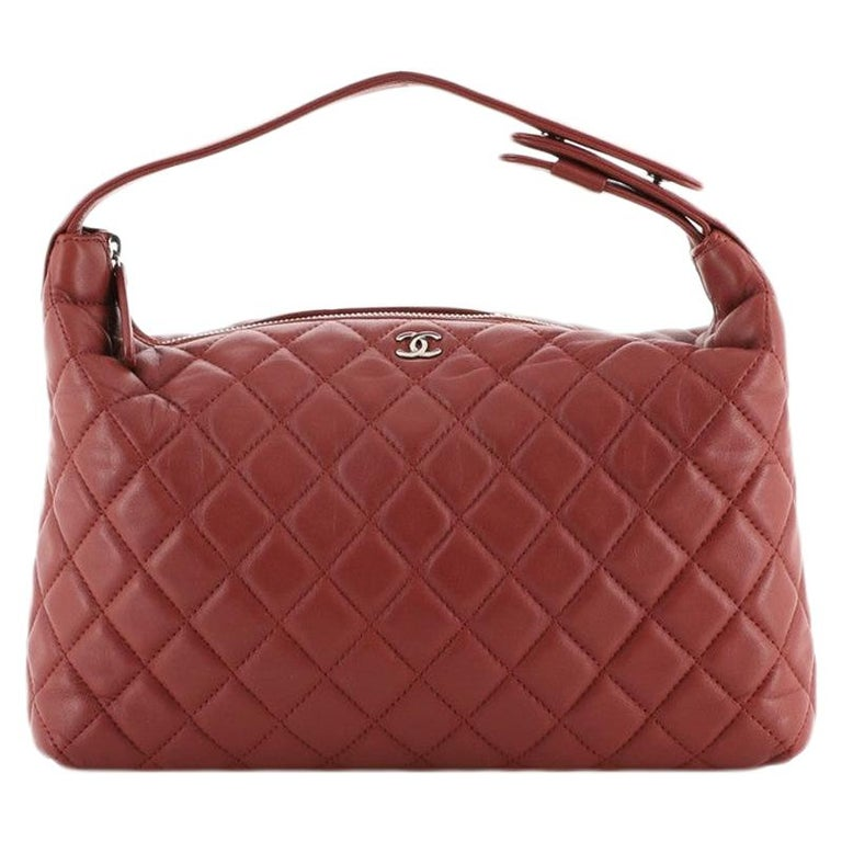 Chanel CC Zip Hobo Quilted Lambskin Small For Sale
