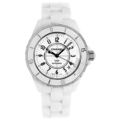 Women's Chanel J12 White Ceramic and Stainless Steel Watch with Fixed Bezel
