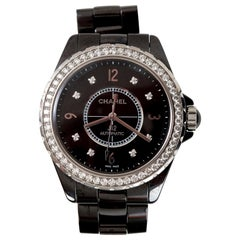 Chanel Ceramic Diamond Dial J12 Automatic Wristwatch H3109 in Original Box