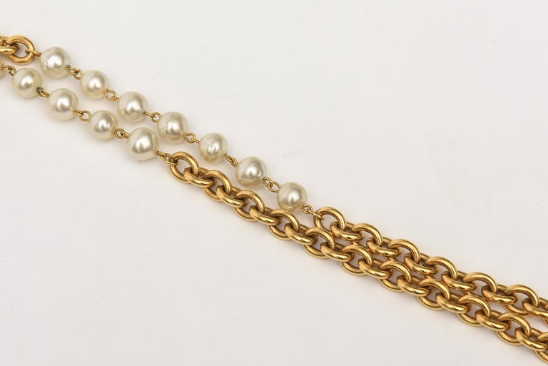 Modern Chanel Chain and Faux Pearl Long Double Strand Necklace For Sale