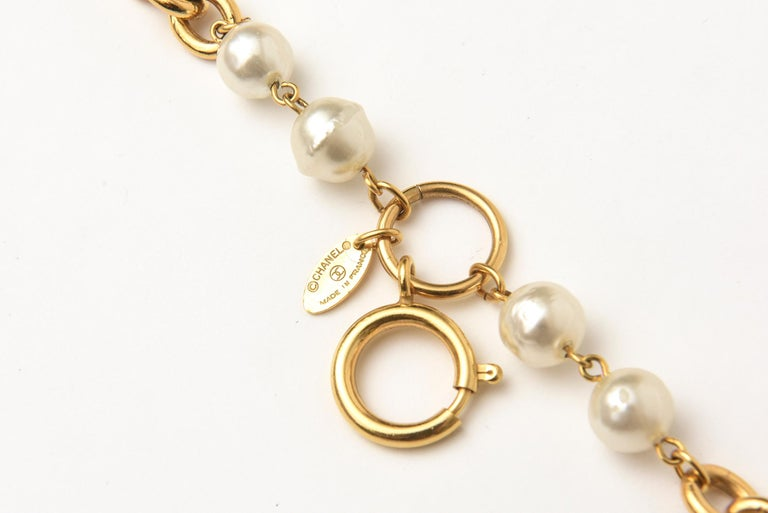 Chanel Chain and Faux Pearl Long Double Strand Necklace In Good Condition For Sale In North Miami, FL