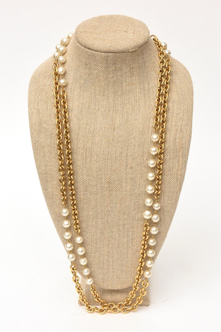 Chanel Chain and Faux Pearl Long Double Strand Necklace For Sale 1