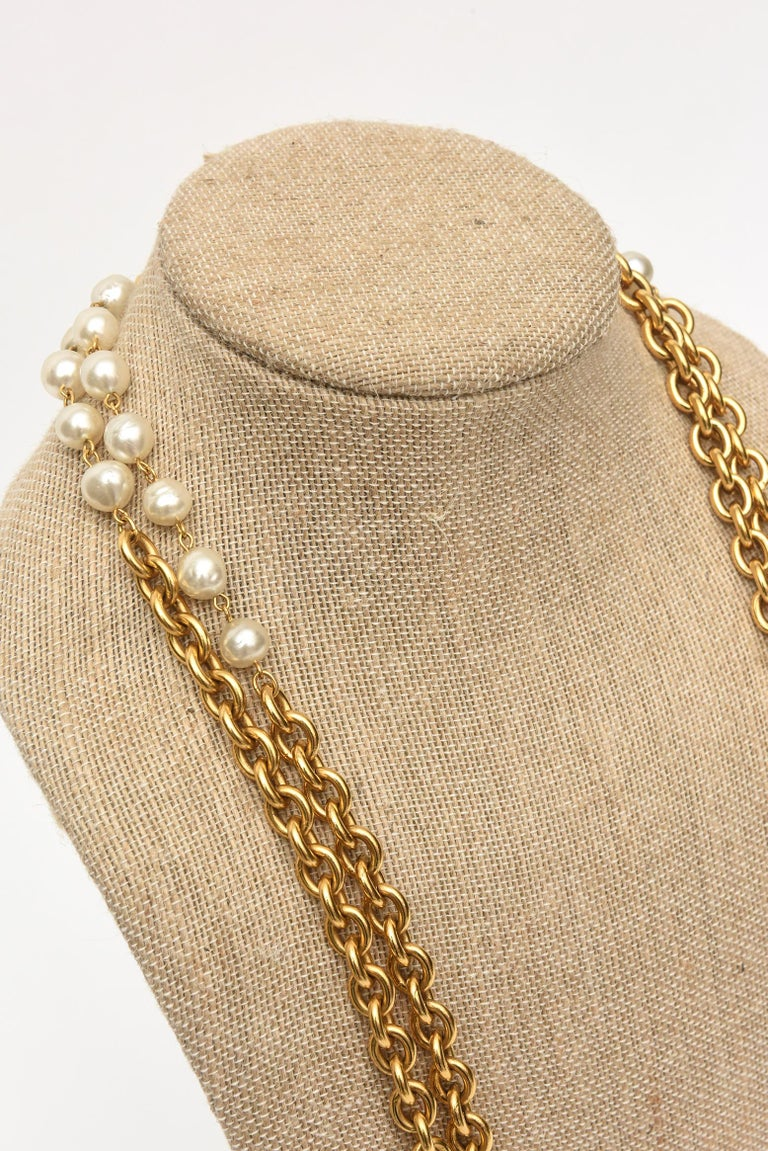 Chanel Chain and Faux Pearl Long Double Strand Necklace For Sale 2