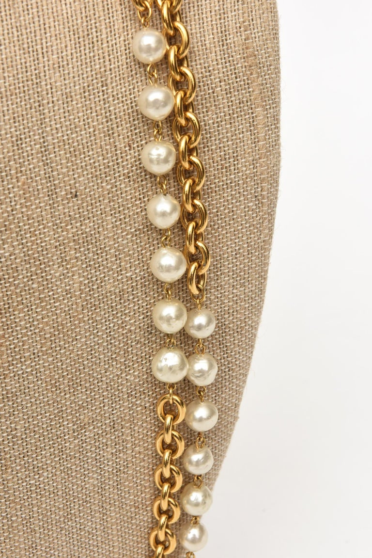Chanel Chain and Faux Pearl Long Double Strand Necklace For Sale 3