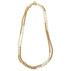 Chanel Chain and Faux Pearl Long Double Strand Necklace