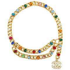 CHANEL Chain And Multicolored Cabochons Belt