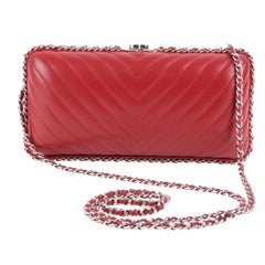 Chanel Chain Around Box Clutch Chevron - red