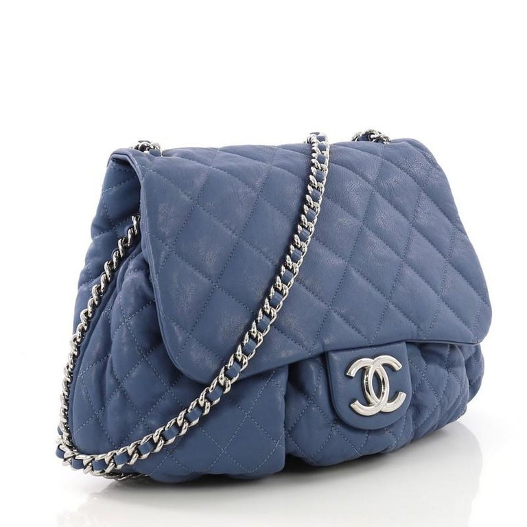 7485a08fb247 Gray Chanel Chain Around Flap Bag Quilted Leather Large For Sale