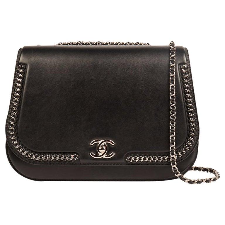 Chanel Chain Around Medium Crossbody Black Flap Bag For Sale