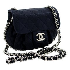 CHANEL Chain Around Navy Shoulder Bag Flap Quilted Purse Lambskin