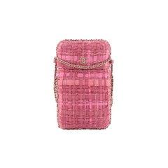 Chanel Chain Around Phone Holder Crossbody Bag Tweed And Ribbon