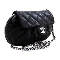 CHANEL Chain Around Shoulder Crossbody Bag Black Calfskin Leather