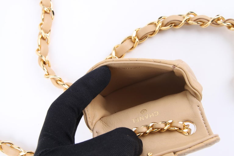Women's or Men's Chanel Chain Belt Bag - beige For Sale