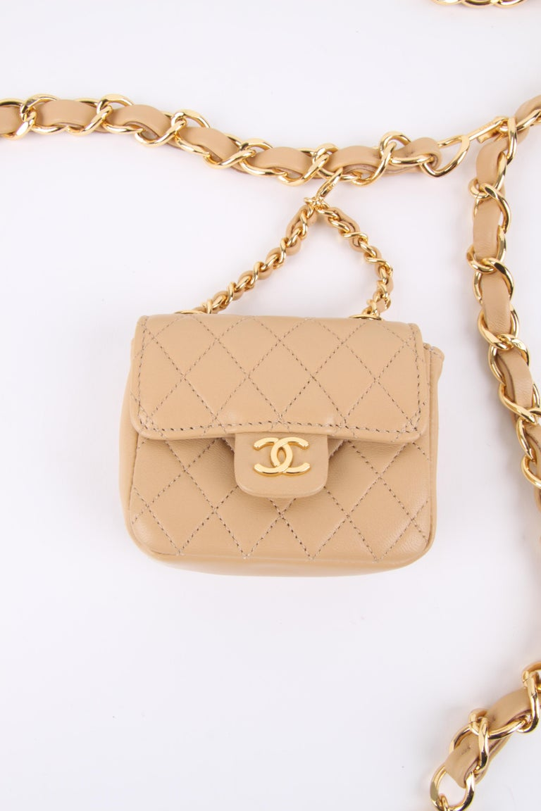 Chanel Chain Belt Bag - beige For Sale 1