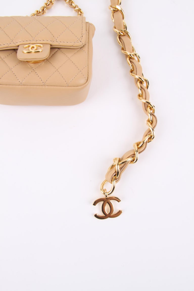 Chanel Chain Belt Bag - beige For Sale 2