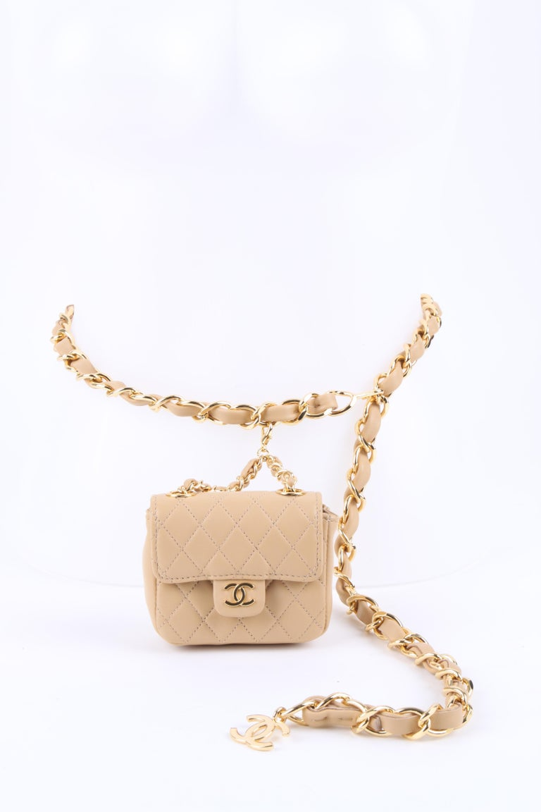 Chanel Chain Belt Bag - beige For Sale 4