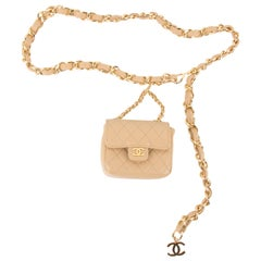 Chanel Chain Belt Bag - beige