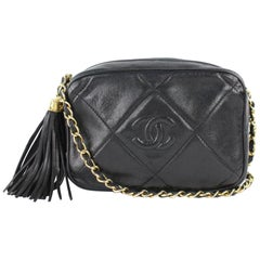 Chanel Chain Camera Quilted Lambskin  7cz0129 Black Leather Cross Body Bag
