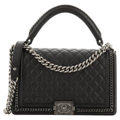 Chanel Chain Handle Boy Flap Bag Quilted Calfskin New Medium