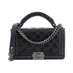 Chanel  Chain Handle Boy Flap Bag Quilted Glazed Calfskin Old Medium