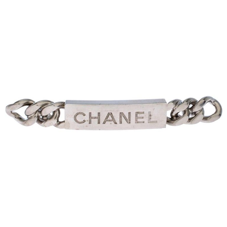 Chanel Chain Link Motif Silver Tone Bar Pin Brooch For Sale