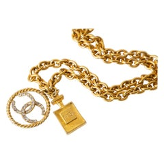 Chanel Chain Link Necklace With Rhinestone CC's and Perfume # 5 Pendant