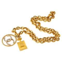 Chanel Chain Link Necklace With Rhinestone CC's and Perfume #5 Pendant