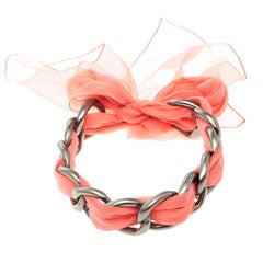 Chanel Chain Link Pink Fabric Self Tie Choker Necklace