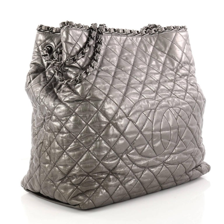 24f24c70e8ce Gray Chanel Chain Me Tote Quilted Calfskin Large For Sale