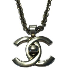 CHANEL Chain Necklace and CC Pendant in Silver Plated