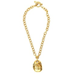 Chanel Chain Necklace With CC Pendant