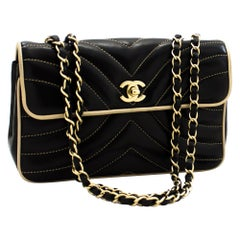 CHANEL Chain Shoulder Bag Black Beige Quilted Single Flap Lambskin