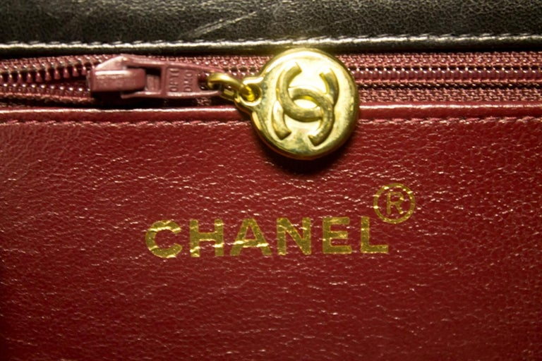 CHANEL Chain Shoulder Bag Black Clutch Flap Quilted Lambskin For Sale 11