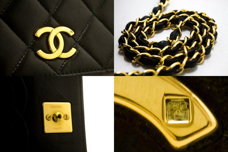 CHANEL Chain Shoulder Bag Black Clutch Flap Quilted Lambskin For Sale 4