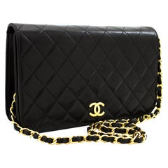CHANEL Chain Shoulder Bag Black Clutch Flap Quilted Lambskin Leather