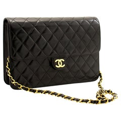 CHANEL Chain Shoulder Bag Black Clutch Flap Quilted Purse Lambskin